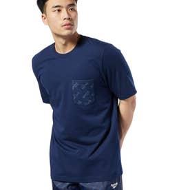ReebokCL ロゴ ポケット Tシャツ (ブルー)