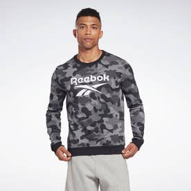 カモ オールオーバー プリント クルー スウェットシャツ / Camo Allover Print Crew Sweatshirt (ブラック)