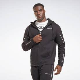トレーニング エッセンシャルズ パイピング ジップアップ フーディー / Training Essentials Piping Zip-Up Hoodie (ブラック)