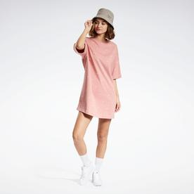 ショートスリーブ 総柄プリント ドレス /  Short Sleeve Allover Print Dress (ピンク)
