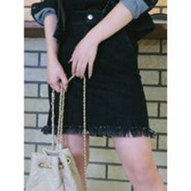 キルティングデニムスカート ブラック