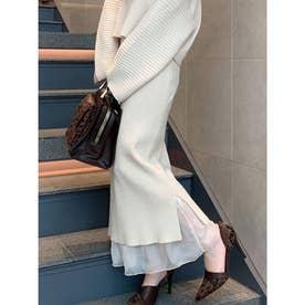 裾シアードッキングニットスカート (オフホワイト)