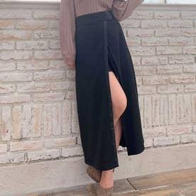 合皮ベルトレイヤードスカート (ブラック)