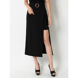 ウッド調バックルナロースカート (ブラック)