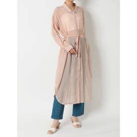 シースルーロングシャツ (ピンク)