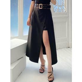 合皮パイピングレイヤードスカート (ブラック)