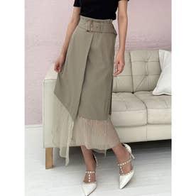 裾プリーツドッキングスカート (ミント)