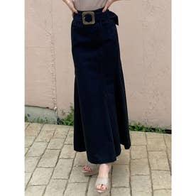 配色ステッチマーメイドスカート (ブラック)