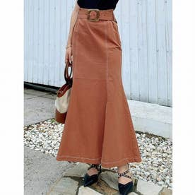配色ステッチマーメイドスカート (オレンジ)