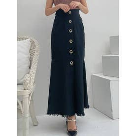 フロントボタンマーメイドスカート (ブラック)