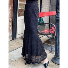 オープンワークマーメイドスカート (ブラック)