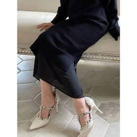 裾シアーニットスカート (ブラック) 【セットアップ対応】