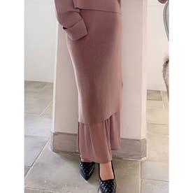 裾シアーニットスカート (ピンク) 【セットアップ対応】