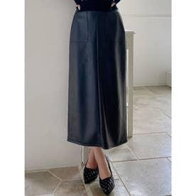フェイクレザータイトスカート (ブラック)