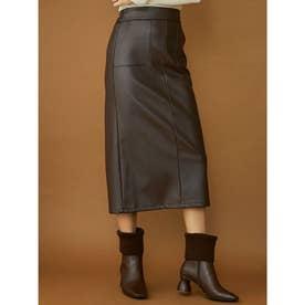 フェイクレザータイトスカート (ブラウン)