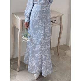 ニュアンスフラワーマーメイドスカート (ブルー)