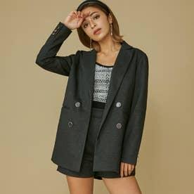 ウールダブルブレストジャケット (ブラック) 【セットアップ対応】