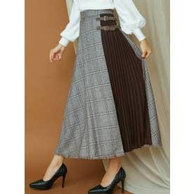 ダブルバックルレイヤードスカート(ブラウン)