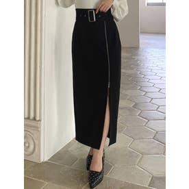 レイヤードZIPスカート(ブラック)