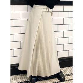 レザープリーツ切替スカート (アイボリー)