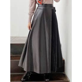 レザープリーツ切替スカート (ブラック)