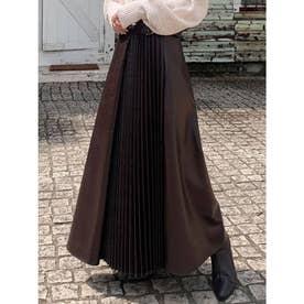 レザープリーツ切替スカート (ブラウン)