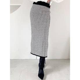 ツイードニットタイトスカート (ブラック) 【セットアップ対応】