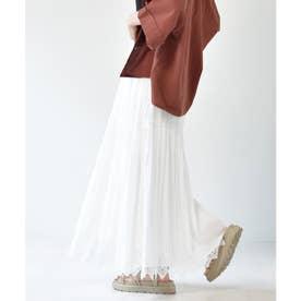 裾レースティアードスカート (オフホワイト)