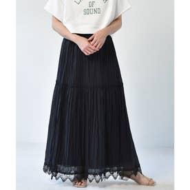 裾レースティアードスカート (ブラック)
