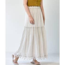 裾レースティアードスカート (ライトグレー)