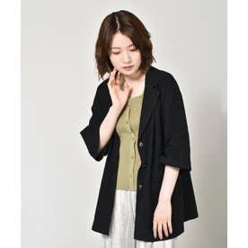 リネンライクシャツジャケット (ブラック)