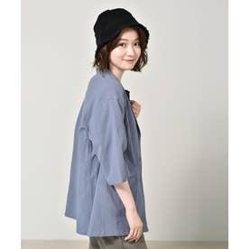 リネンライクシャツジャケット (ブルー)