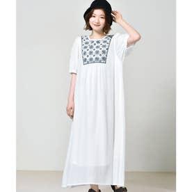 刺繍楊柳ワンピース (オフホワイト)