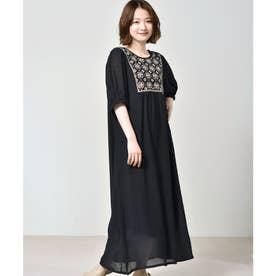 刺繍楊柳ワンピース (ブラック)