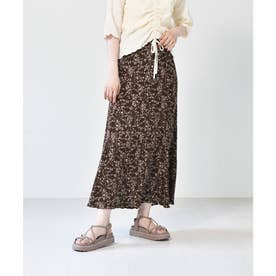 マーメイド細プリーツスカート (ブラウン)