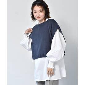 柄編みベストセット (ブルー)