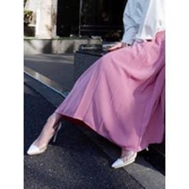 ワイドプリーツジャストウエストスカート ピンク