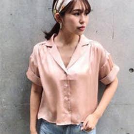 バックテールオープンカラーシャツ (ライトオレンジ)