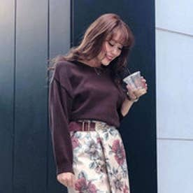 Stole N/C Knit TOP (ブラウン)