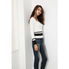 Washable VN RIB Knit TOP (マルチ1)