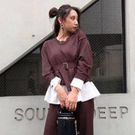 Shirt Combi Knit TOP-R (ブラウン)