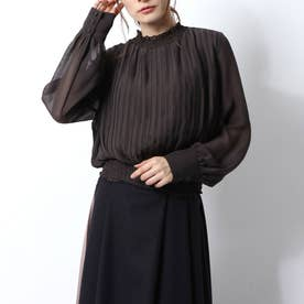 H/N Pleated Chiffon TOP (ブラウン)
