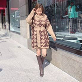 Off turtle Poncho Knit OP (ライトベージュ)