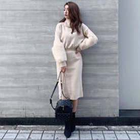 Faux Fur SLV Knit OP (ライトベージュ)