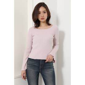 Bell sleeve RIB Knit TOP (ライトピンク)