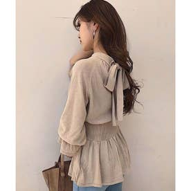 Back Ribbon Knit TOP (ライトベージュ)