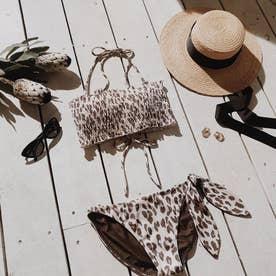 Shirring Bandeau cup bikini 【返品不可商品】(ブラウン)
