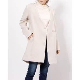 ノーカラーBack Faux Fur Wool MIX CT (L/BEG)