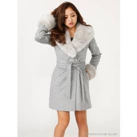 サッシュBELT付Faux Fur Wool MIX CT (T.GRY)