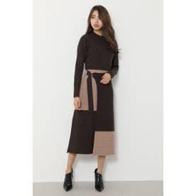 bicolor wrap LONG SLV knit OP BRN